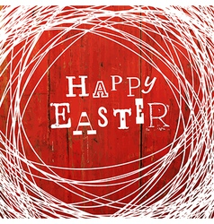 easter card on red wooden board vector image
