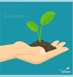 hand holding soil with growing sprout vector image