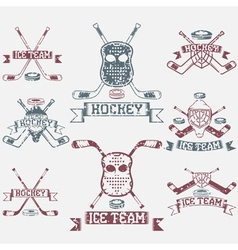hockey sport club grunge vintage labels set vector image