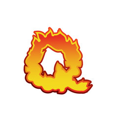 letter q fire flames font lettering tattoo vector image