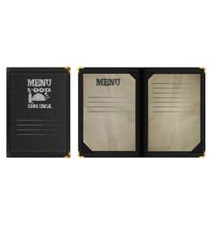 restaurant menu notebook in black leather binding vector image vector image