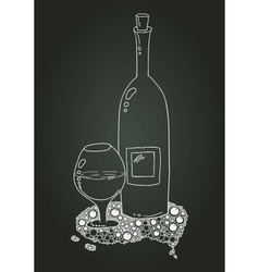 Wine Bottle And Glass With Doodle Chalk Sketch vector image vector image