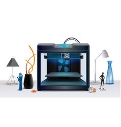 3d printer realistic composition vector