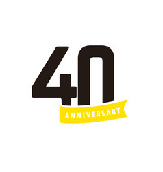 40 years anniversary number with yellow ribbon vector