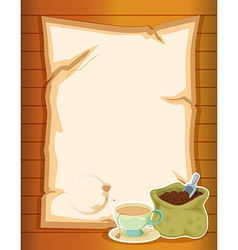 A stationery with a sack of coffee beans vector image