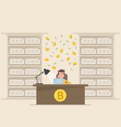 a young man makes money on bitcoin vector image