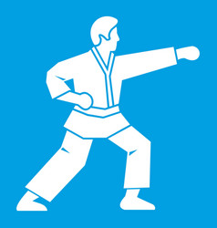 Aikido fighter icon white vector