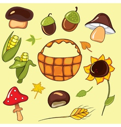 autumn set elements vector image
