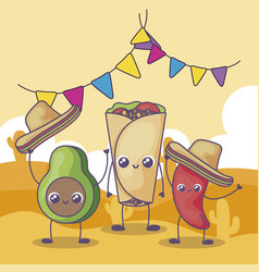 Avocado and pepper with mexican hat kawaii vector