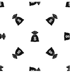 bag with dollars pattern seamless black vector image