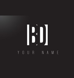 Bd letter logo with black and white negative vector