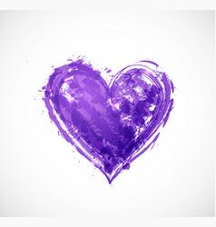 big ultraviolet purple grunge heart on white vector image