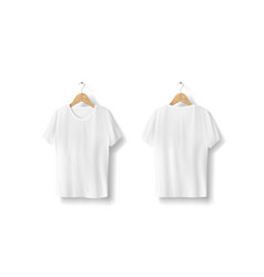 Blank white t-shirts hanging on white wall vector