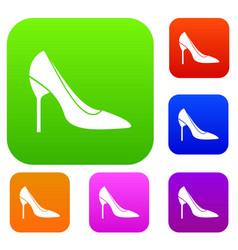 Bride shoes set collection vector