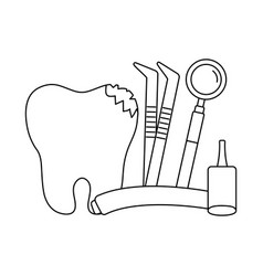 Broken tooth icon vector
