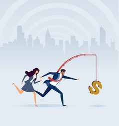 Business people chasing money on fishing rod vector