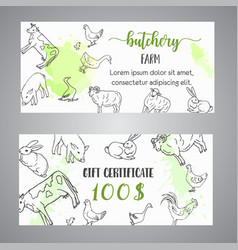 Butchery gift voucer hand drawn farm animals vector