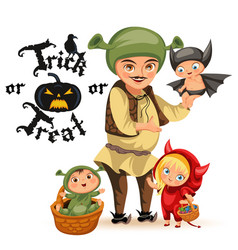 Cartoon father and kids in halloween vector