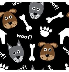 Cartoon seamless pattern with dogs vector