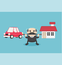 Chief businessman who is carrying home and car vector