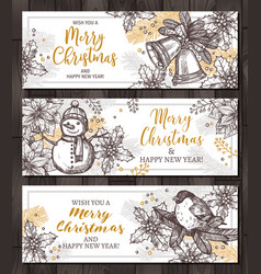 christmas happy holiday horizontal banners for web vector image