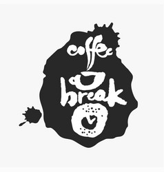 coffee break in an ink blot vector image