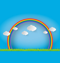 color rainbow with clouds and grass vector image