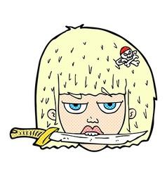 Comic cartoon woman holding knife between teeth vector