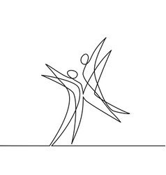 continuous line drawing of abstract dancers vector image