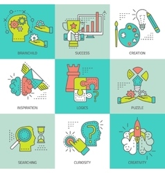 Creative Concept Colored Icons vector image