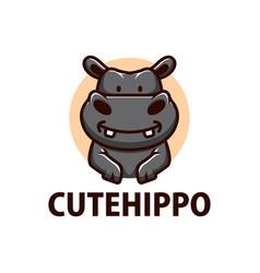 Cute hippo cartoon logo icon vector