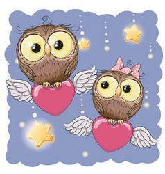 Cute lovers owls vector