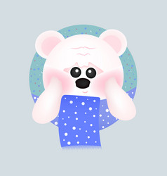 cute white bear with red cheeks with blue scarf vector image