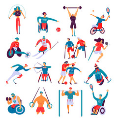 Disabled people sport flat set vector