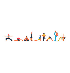 diverse people set doing yoga pose exercises vector image
