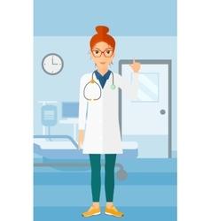 Doctor showing finger up vector image