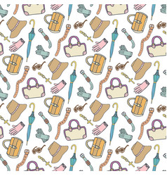doodle fashion pattern with accessories and vector image