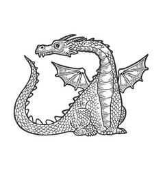 dragon fabulous animal engraving vector image