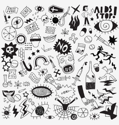 Drugs hand drawn doodle set vector