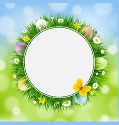 easter card with grass and eggs vector image