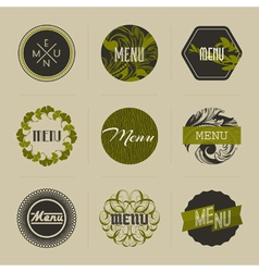 Elegant nature-themed badges in green vector