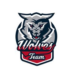 Emblem logo sticker aggressive wolf ready vector