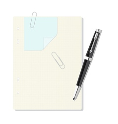 Exercise book in a cage pen paper clip leaf vector