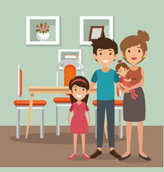 family parents in dinning room scene vector image