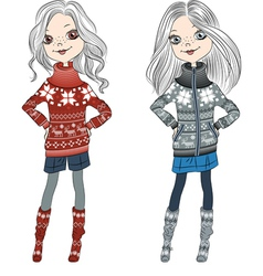 Fashion hipster girls in knitted sweaters vector