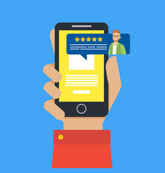 feedback customer review page on smartphone vector image