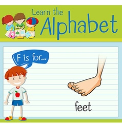 Flashcard letter F is for feet vector