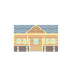 Flat Design Wooden Log Building vector image