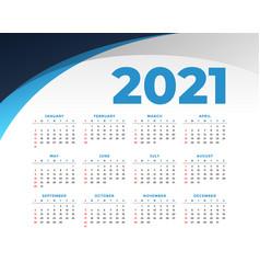 Flat style 2021 new year calendar design template vector