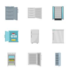 freezer icon set flat style vector image
